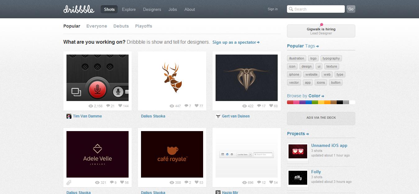 Dribbble——看看其它设计师在做什么