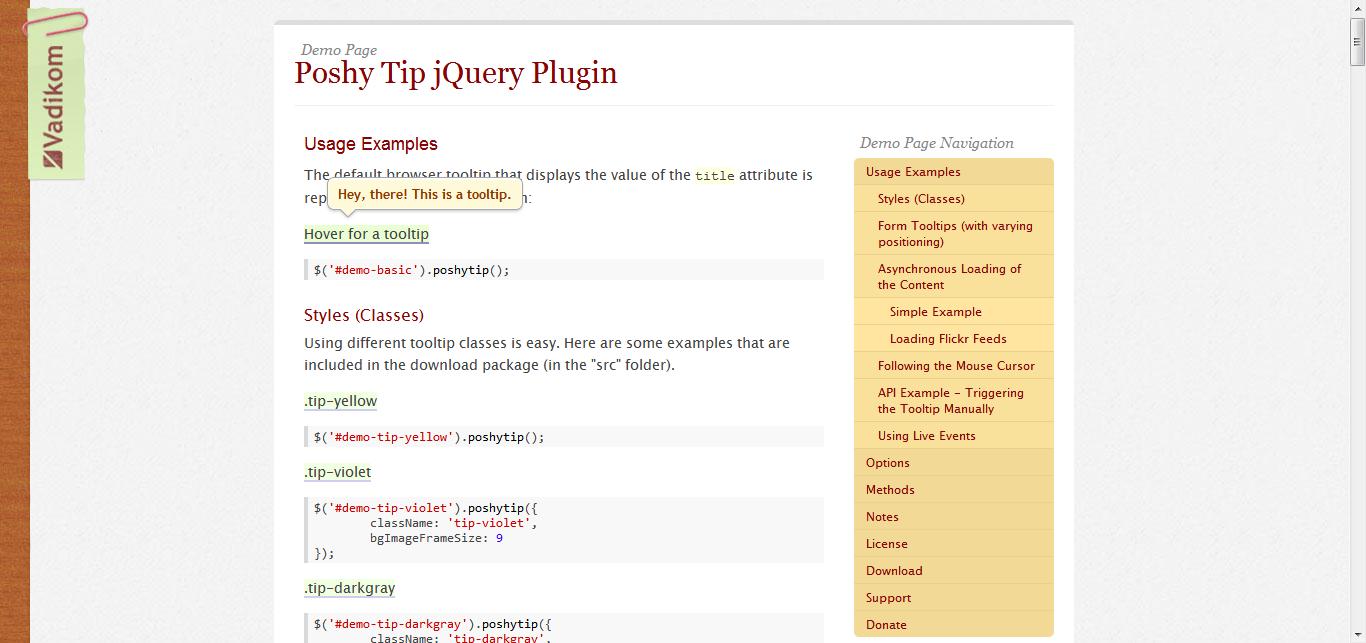 Poshy Tip jQuery - 另一个好用的tooltip插件