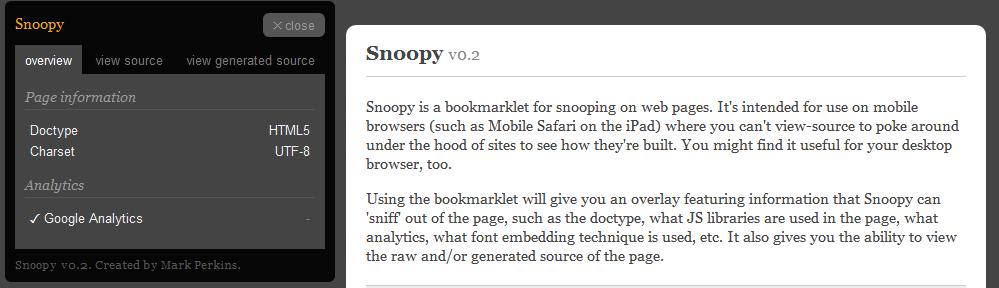 Snoopy - 在iPad上也不忘看看网页源码