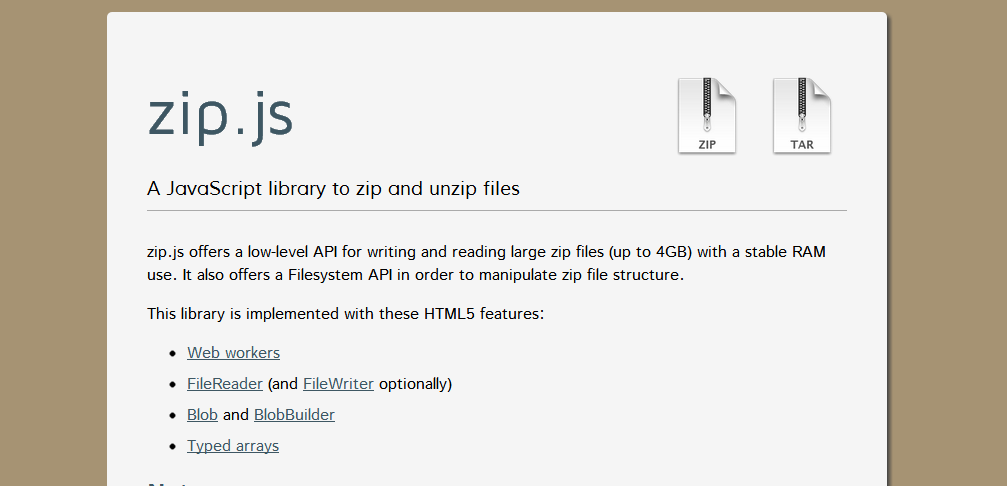 zip.js - JavaScript支撑的压缩利器
