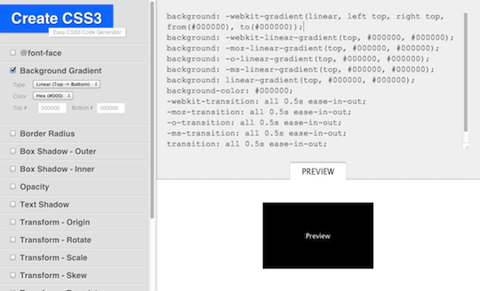 Create CSS3 Generator